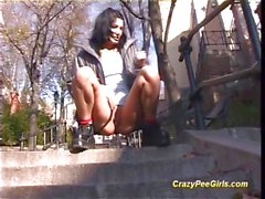 Crazy teen loves to pee on public places