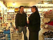 Busty bookworm bitch seduced into blowjob and cock riding
