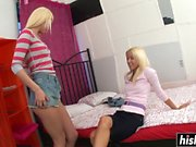 Stunning teens get to share a dick