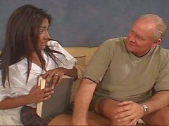 Lovely Busty Babes Serving Grandpa's Old Boner