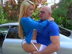 Young latina Marina Angel in white lingerie giving head