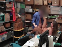 Pale brunette Brooke Bliss gets fucked hard in the office