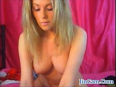 Natural tits blond private show with finger