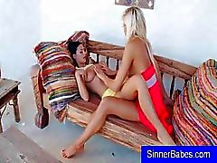 Two teen lesbians are using their feet before they start licking