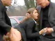 Schoolgirl Gangbanged Against Car On Country Lane