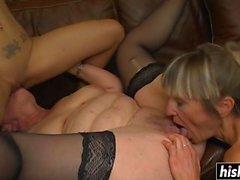 Three lesbians masturbate on the couch