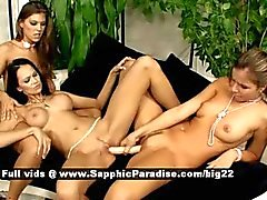 Moon and Cherie and Peaches astonished lesbian girls toying