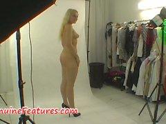 Casting backstage with amateur blonde
