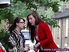 Naughty mature Brit spanks a lesbian babe hard