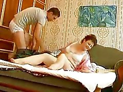 Young hunk bangs mature chubby momma in bedroom