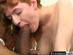 Natural Redhead Abby sees her first BB