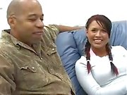 Interracial shag with a black rod and teen hole
