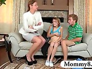 Teens fucking and get caught by her MILF stepmom