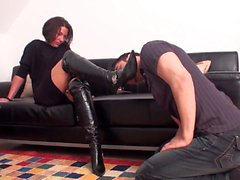 Femdom Ladies order slaves to lick their boots clean