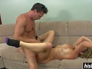 Tattooed guy bangs Dahlia on the couch