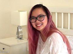 Amazing asian 18yo teen from UK uses vibrator