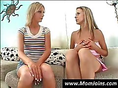 Skinny fledgling chick and her mom have a talk about seduction