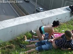 Teenage girl PUBLIC gangbang