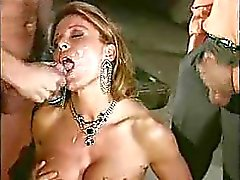 Italian Mature women gangbanged with 3 young guys