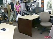 Pretty latin chick fucked by pawn keeper for the money