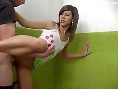 Hot student girl hurries for party