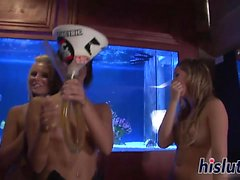 Delicious bombshells play roulette in the nude