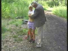 Horny old man plays with a sexy blonde teen