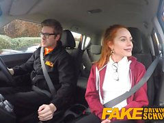 Fake Driving School Cute redhead Ella Hughes