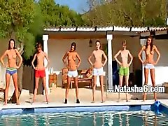 Six naked teens by the pool from Russia