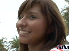 Cute Latina stunner has her beaver plugged