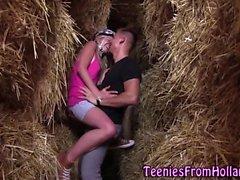Teen fucks in haystack