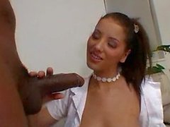 Schoolgirl Angel's interracial cream filled ass