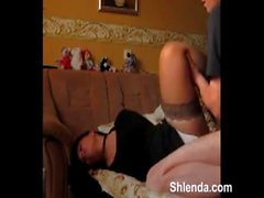 Tied hands brunette was fucked hard in the mouth