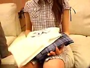 Dazzling Japanese teen with sexy long legs has fun with a h