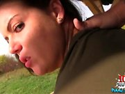 Sexy student outdoor with creampie
