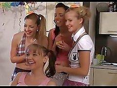 Horny CFNM girls celebrate 18th birthday of their friend