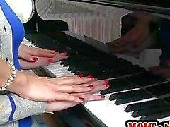 Piano teacher Tanya Tate teaches student