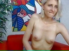 Blonde teen fingers her hot shaved pussy