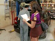 Horny mechanic Keiran Lee takes care both of Kelly Divine's