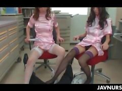 Nurses get kinky and jerk the dude off