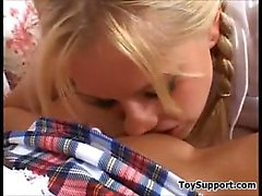 Beautiful Blonde Schoolgirls With Toys