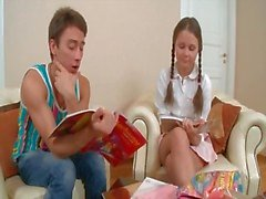 Foreplay with a cute teenager in pigtails