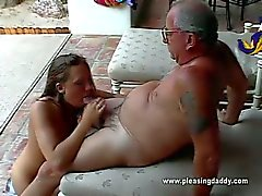 Uncle jesse gets cute brunette cheerleader to suck his cock