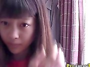 Asian teen pee and sniff