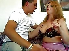 Heavy chested older ladie gets rammed by young stud