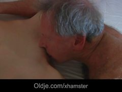 Slutty maid fucking porn addict grandpa gets mouth cumshot
