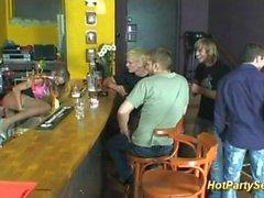 cum drinking teen in club