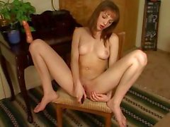 Cute brunette Charlie Laine fingers and toys her little wet slit
