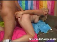 Big titty cheerleader teen spreads for thick cock