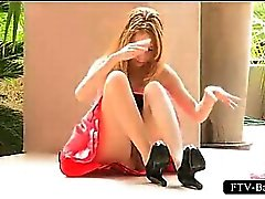 Blondie nails her pussy with a shoe heel upskirt